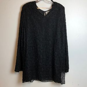 Vintage beaded long black blouse 3X